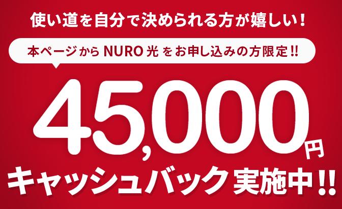 京都でNURO光なら45,000円キャッシュバック!